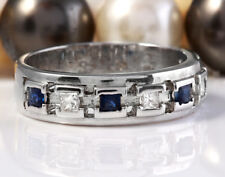 1.00 Carat Natural Sapphire and Diamonds in 14K Solid White Gold Men Ring