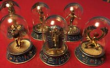 Franklin Mint Egyptian Collection Set of 6 Glass Dome Figurines Limited Ed