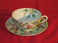Hand Painted China Cup and Saucer  With Multi Colored Flowers