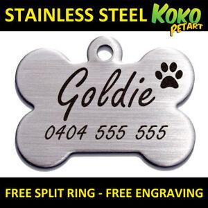 Brushed Stainless Steel Bone Pet Cat Dog Tag Personalised Custom Engraving Tags