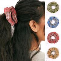 Women Girls Elastic Plaid Hair Ponytail Scrunchies Hair Rope Hair Accessories G#