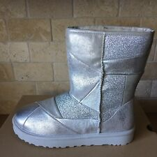 UGG Classic Glitter Patchwork Suede Fur Silver Sparkle Short Boots Size 11 Women