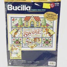 Bucilla HOME SWEET HOME 42468 Stamped Cross Stitch Kit Sealed 1999 Sampler Orton