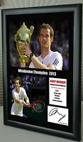 """Andy Murray Wimbledon Champion Framed Canvas Tribute Print Signed """"Great Gift"""""""