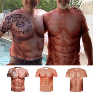 Lustige Herren Muskel Tattoo Print T-Shirt Männer Kurzarm 3D-Druck T-Shirts Tops