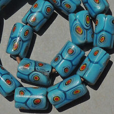 16 old antique venetian tubular millefiori african trade beads #4868