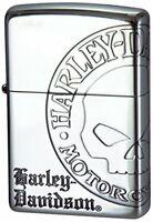 Zippo Oil Lighter Harley Davidson Silver HDP-36 Skull 3 Side Etching Brass Japan