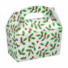 5 x Christmas Party Lunch Boxes Holly Party Gift Loot Favour Card Treat Box