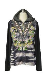 Custo Barcelona Women Zip Jacket Tipi Heart Embellished Hoodie Black/Multi
