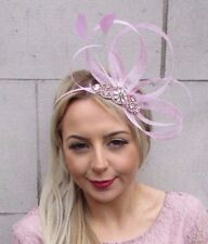 Rose Gold Baby Light Pink Silver Feather Sinamay Fascinator Headband Races 4503