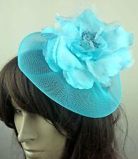 turquoise satin flower crin fascinator hair clip headpiece wedding party piece