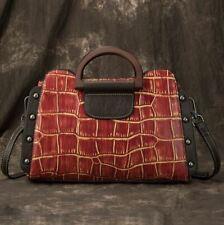 Women Genuine Cow Leather Shoulder Messenger Bag Embossed Handbag Purple Small