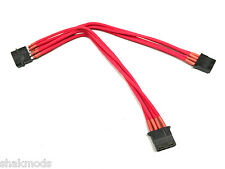 Shakmods Male to 2 x Female Molex extension 30cm Splitter Red Sleeved Cable UK