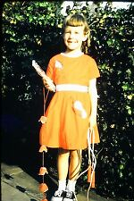 #8 35mm slide - Vintage - Collectibles -Photo - cute girl dress orange smile