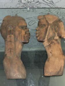 Pair Vintage Wall Hanging African Tribal Hand Carved Wooden Face Busts plaque's