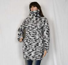 Hand Knitted Mohair Pullover Black Long Elastic Sweater Turtlenecks fuzzy Jumper