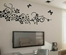 Removable Black Vinyl Butterfly Vine Flower Wall Decal Stickers Bedroom Decor US