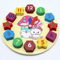 Wooden Clock Jigsaw Block Puzzle Kids Montessori Time Education Educational Toys