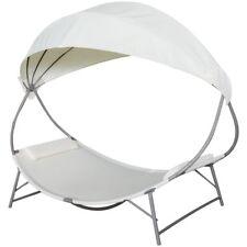 Vidaxl tumbona blanca crema con toldo