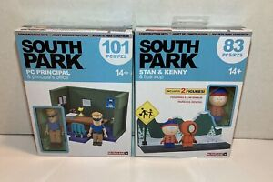 Lot of 2 South Park's STAN & KENNY & Bus Stop + PC PRINCIPAL and Office Figures