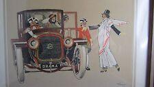 ancienne lithographie rene vincent rené theatre automobile delahaye quat z arts