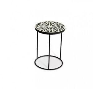Bone Inlay Floral White Black Metal Leg Side Table (MADE TO ORDER)