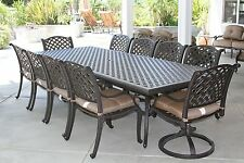 NASSAU 11PC OUTDOOR PATIO DINING SET WITH 46 X 120 TABLE SERIES 3000