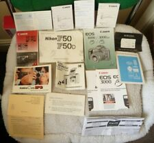 Collection Of Vintage Manuals For Cameras & Lenses - Canon, Nikon, Kodak etc