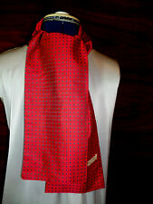 100% woven silk men's cravat/scarf  Red with grey polka dots  NEW