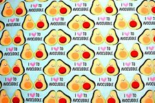 """SLICED SMILING AVOCADOS """"I LOVE TO AVOCUDDLE"""" 100% COTTON FLANNEL 42x62"""" 1 3/4YD"""