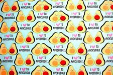 """SLICED SMILING AVOCADOS """"I LOVE TO AVOCUDDLE"""" 100% COTTON FLANNEL 42x72"""" 2YDS"""