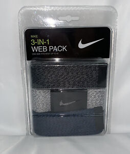 NIKE MEN'S WEB BELT 3 IN 1 PACK  GRAY/BLUE CUT TO FITS SIZE UP TO 42 NEW