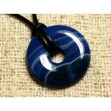 collier donuts 30mm agate bleue