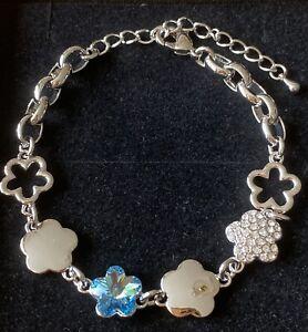 Swarovski Elements Blue And Clear Flower Bracelet