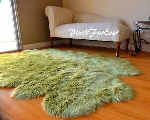 "36"" x 58"" Olive Green Sheepskin Area Rug Acrylics Quad Nursery Accents Cute Rugs"