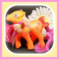 ❤️RARE My Little Pony MLP G1 Vtg Rockin' Beat Beats Half Note Neon Orange Pink❤️