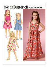 Butterick Sewing Pattern 6202 SZ 6-8 Children's/Girls' Bow-Detail Dresses Romper
