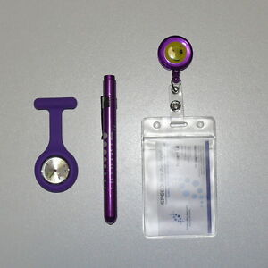 Quality Medical Pen Light + Nurse Fob Watch + ID Accessory+ Extra Watch Battery