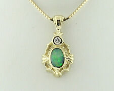 """Natural Opal Diamond Solid 14k Yellow Gold Pendant w/ 16"""" Necklace"""
