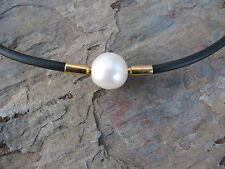 18 KT Yellow Gold & Paspaley South Sea Pearl Necklace Black Nitrile Rubber NEW