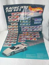 1990 Hot Wheels Folded Rare Racing into the 90's Poster Mattel Vintage