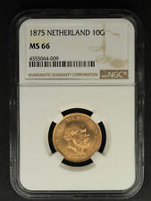 1875 Netherland Gold 10 Gulden NGC MS-66 -160427