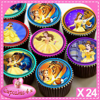 24 x BEAUTY AND THE BEAST IMAGES EDIBLE CUPCAKE TOPPERS PREMIUM RICE PAPER C7066