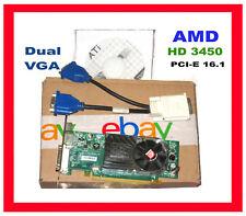 DELL Optiplex TOWER DUAL MONITOR PCI-E x16 Video Card. + 2x VGA adpter Driver CD