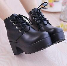 Ladies Gothic Platform Creeper High Heel Lace Up Chunky Ankkle Boots Punk New SZ