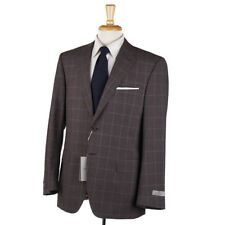 NWT $2295 CANALI 'Impeccable' Brown-Sky Blue Check Wool Suit 40 R (Eu 50)