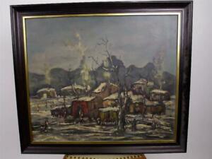 Zigeunerlager querformatiges Ölbild Ölgemälde signiert AIIHB?