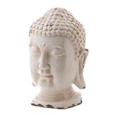 Accent Plus Crackle Glazed White Buddha Head Statue
