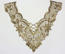 Negro Oro embroidered lace yugo de recorte en el pecho de Adorno Motivo Vestido Traje De Baile 7