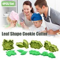 4PCS/Set Leaf Shape Cookie Cutter Baking Mould Fondant Pastry Decor DIY Mold